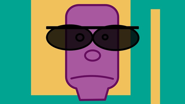 Man green violet, people.