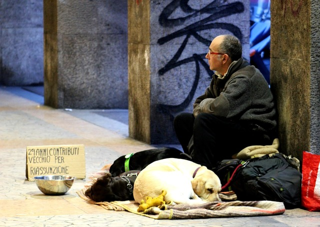 Man man on the street homeless, people.