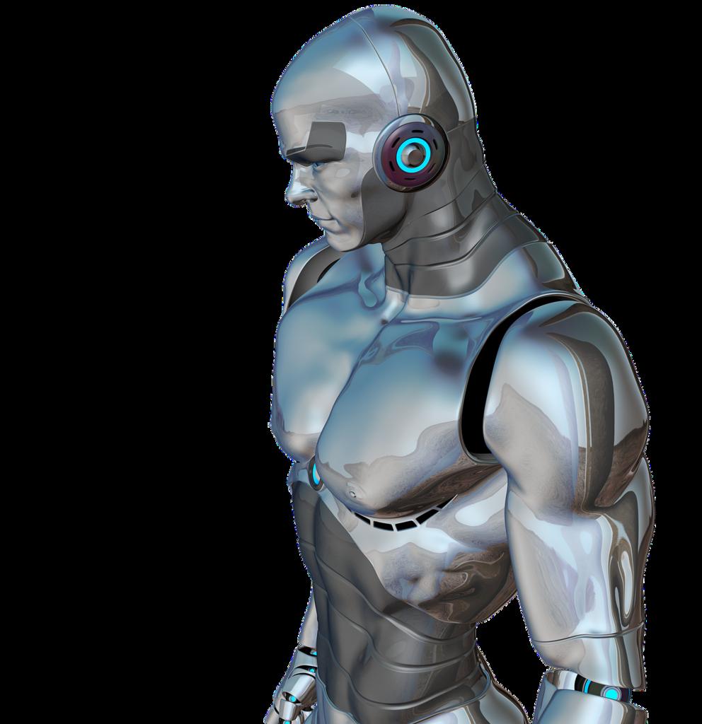 Man muscular robot, people.