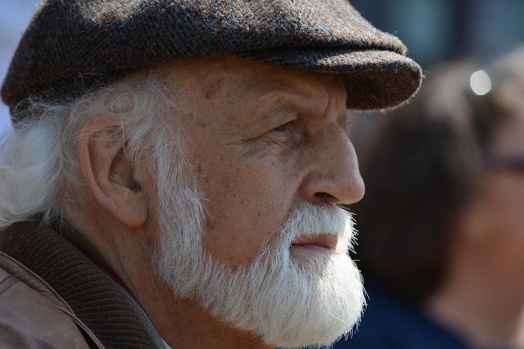Man old white beard, people.