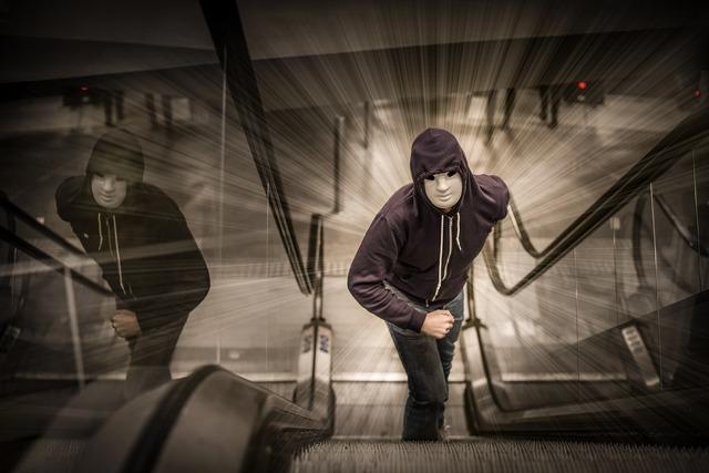 Man run escalator, people.