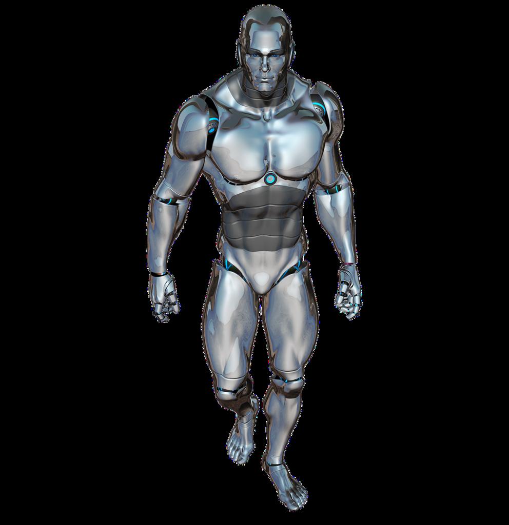 Man walking robot, people.
