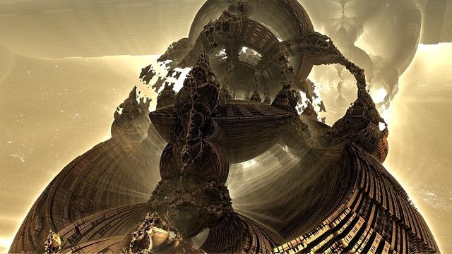 Mandelbulb fractal sci-fi.