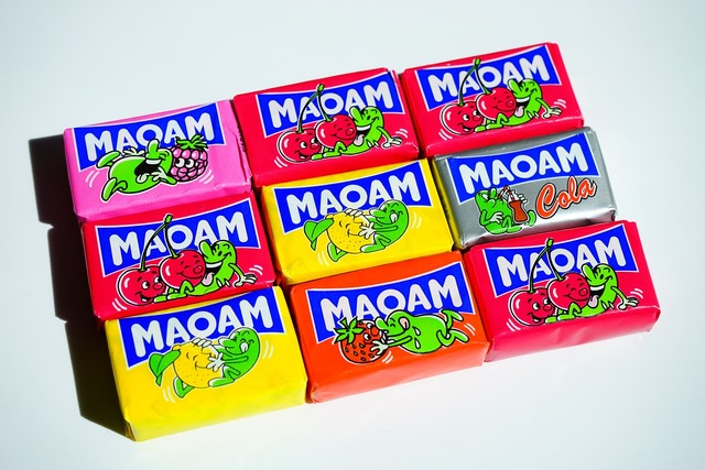 Maoam chewy candy sweetness, food drink.