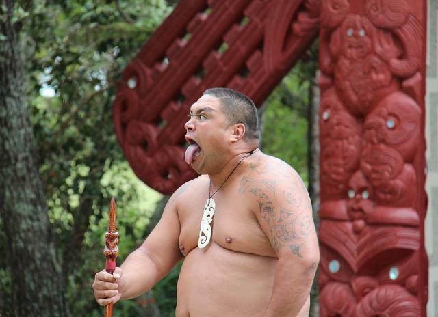 Maori man making a face, people.