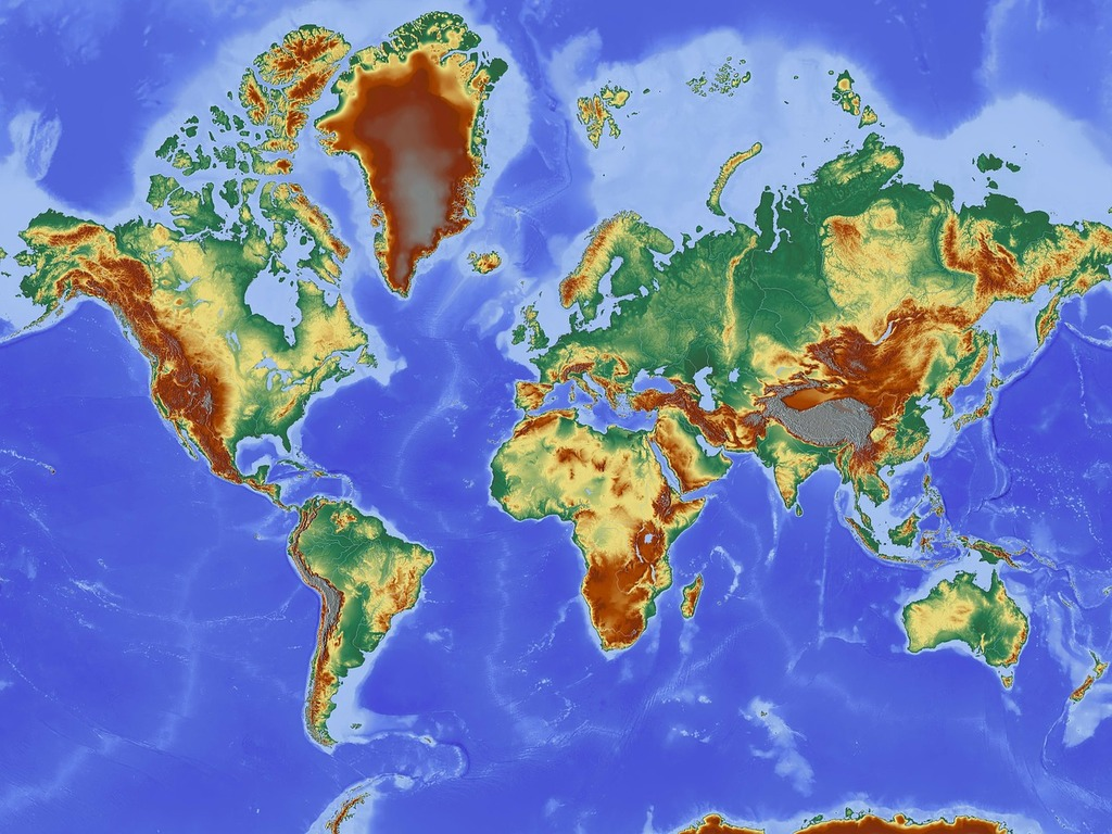Map map of the world relief map.
