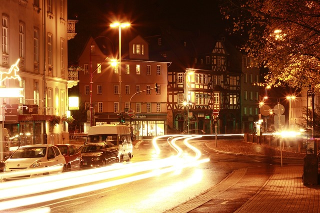 Marburg city night photograph, architecture buildings.