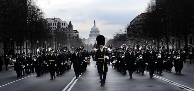 Marching band military army, transportation traffic.