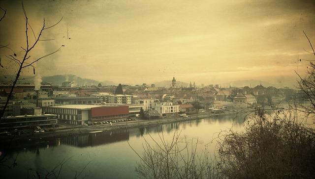 Maribor city slovenia, architecture buildings.