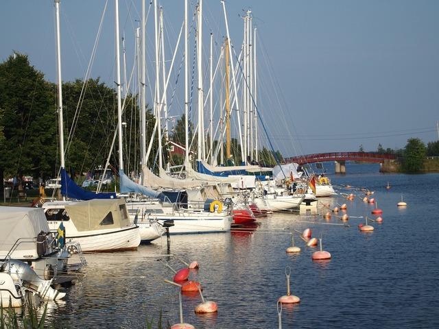Marina stern buoys sailing ships.