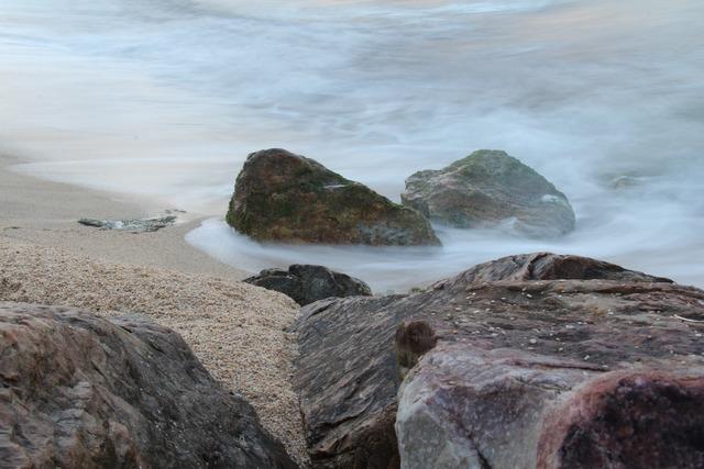 Marine coastal beach, travel vacation.