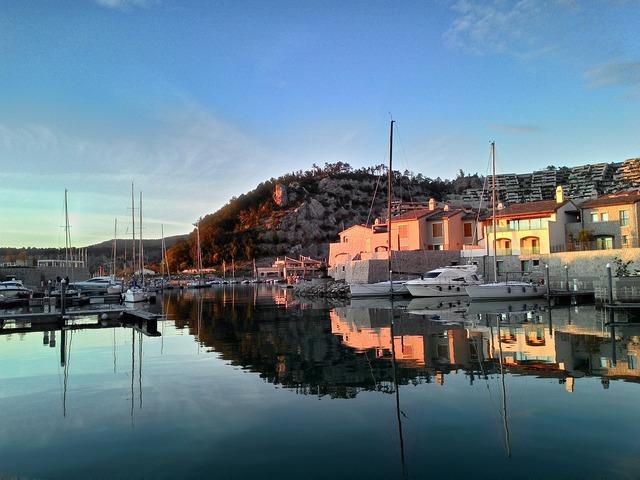 Marine village sea bay.