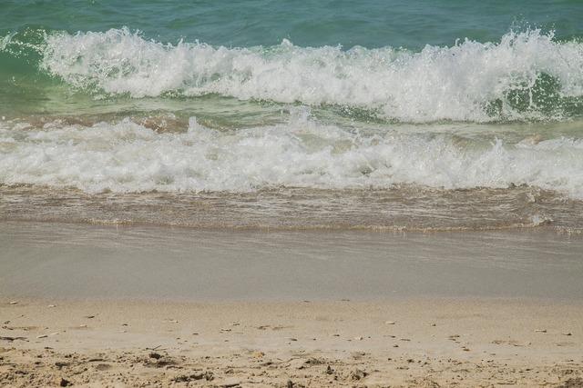 Marine wave beach, travel vacation.