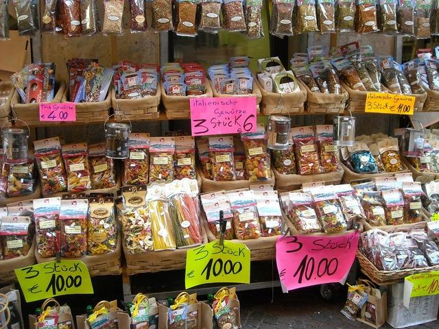 Market sales stand market stall.