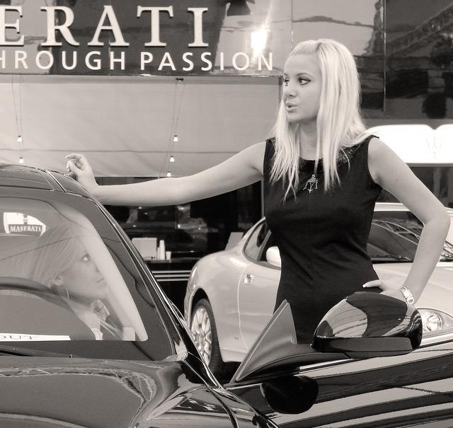 Maserati model auto show, beauty fashion.