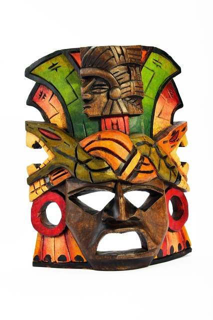 Mask wooden isolated, industry craft.