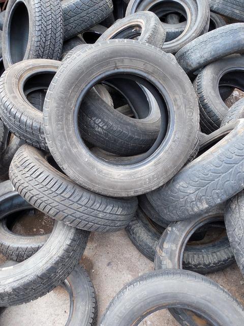 Mature auto tires rubber.