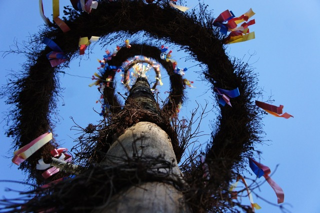 Maypole flags and pennants tradition.