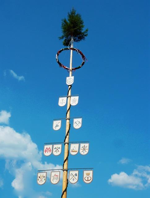 Maypole tree bavaria, travel vacation.