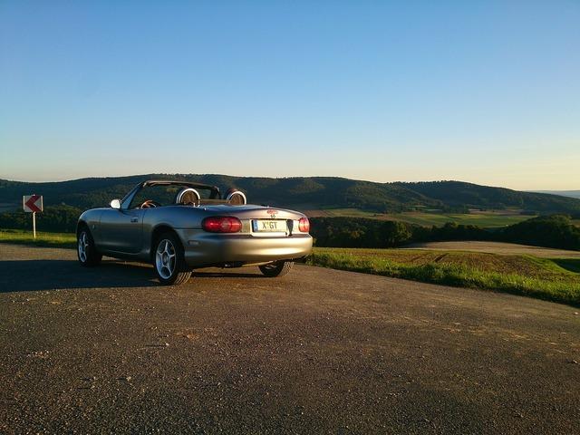 Mazda mx 5 convertible, nature landscapes.