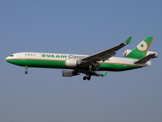 Md-11 eva air cargo aircraft, transportation traffic.