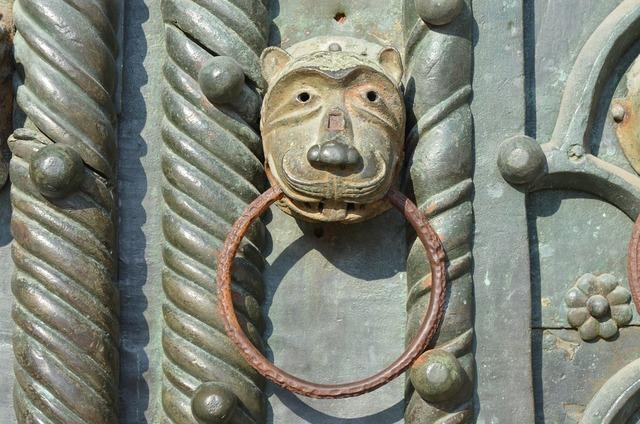 Medieval door doorknob, architecture buildings.