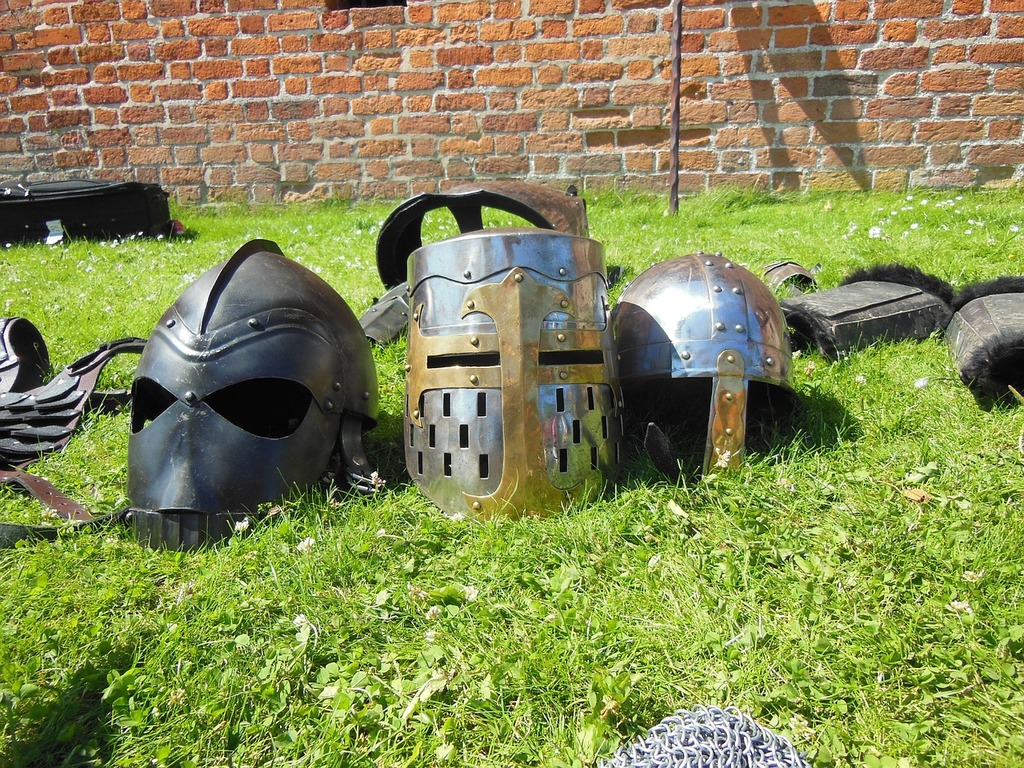 Medieval knight helmets barrel helmet, places monuments.