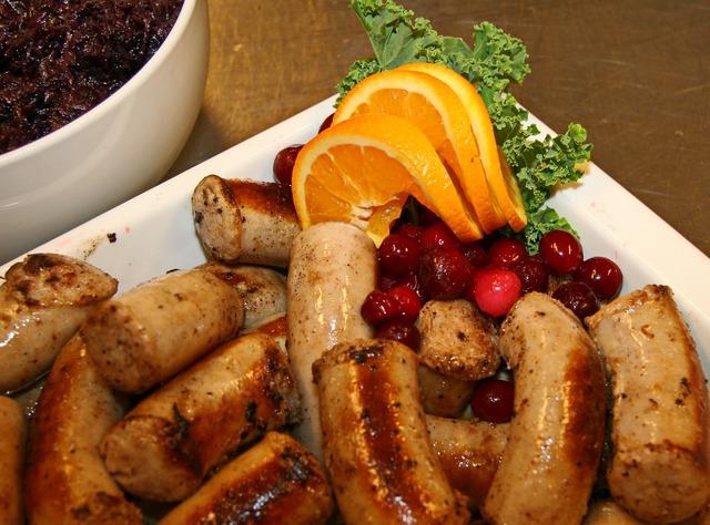 Medisterpølse sausage orange, food drink.