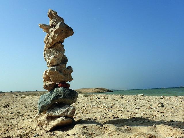 Meditation beach stones, travel vacation.