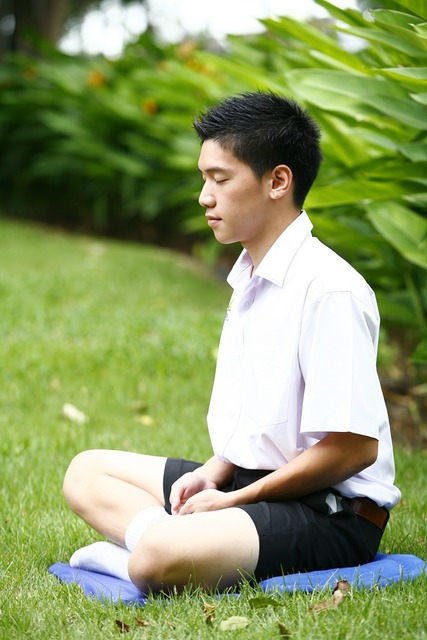 Meditation buddhist boy, people.