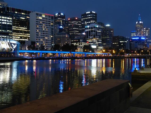 Melbourne australia river, architecture buildings.