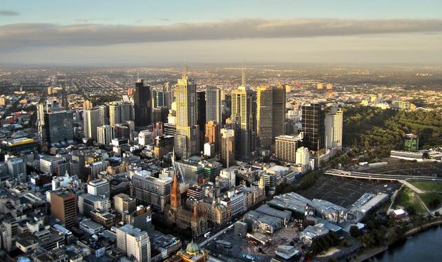 Melbourne skyline skyscrapers, architecture buildings.