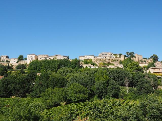 Ménerbes village community, architecture buildings.