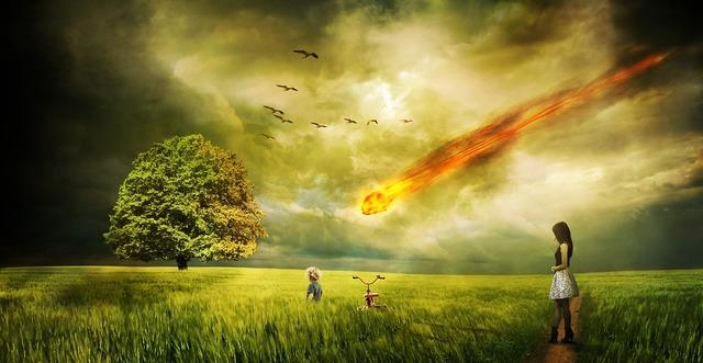 Meteorite impact comet, nature landscapes.