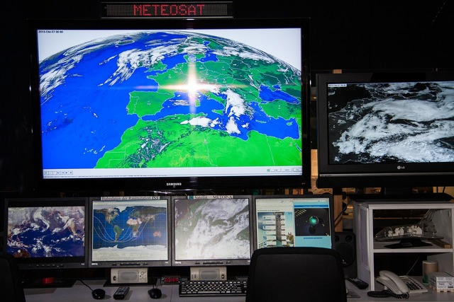Meteosat weather satellite workplace, computer communication.