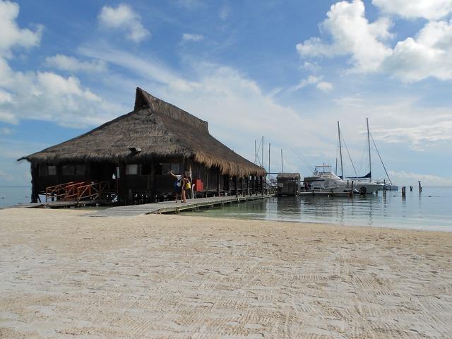 Mexico beach dock, travel vacation.