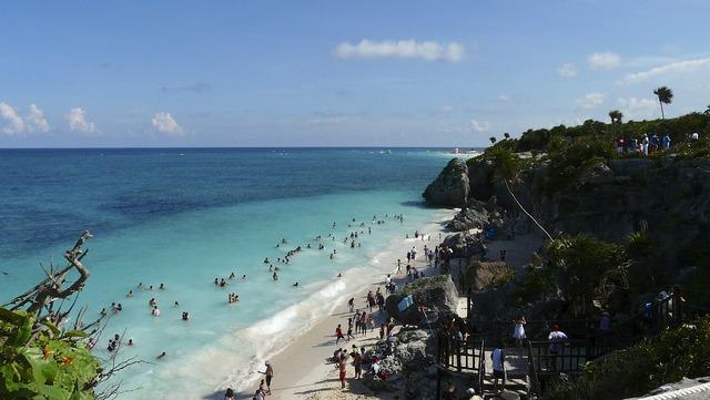 Mexico sea beach, travel vacation.