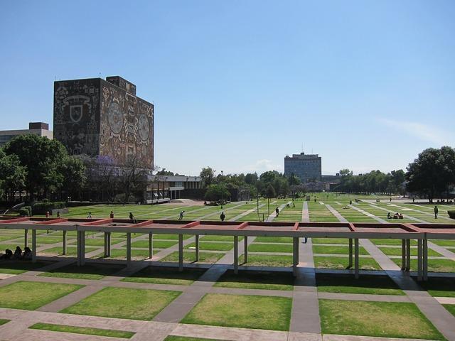 Mexico university world heritage site, architecture buildings.