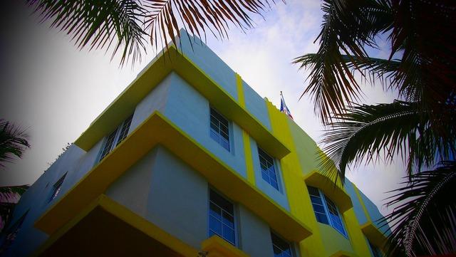 Miami art decoration usa, architecture buildings.