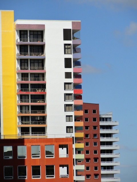 Miami downtown skyline, architecture buildings.