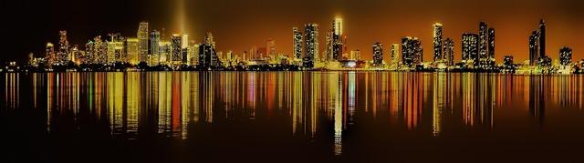 Miami florida downtown, architecture buildings.
