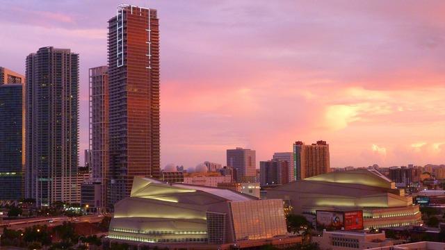 Miami florida skyline, architecture buildings.