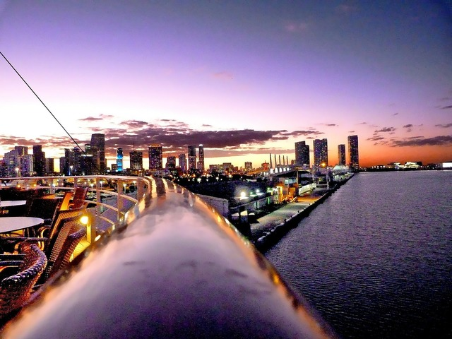 Miami night skyline, travel vacation.