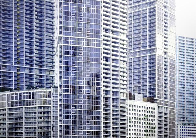 Miami skyscrapers downtown, architecture buildings.