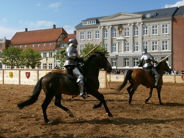 Middle ages knights horses.