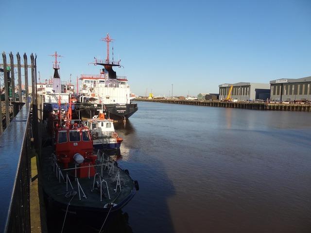 Middlesbrough harbor port, industry craft.