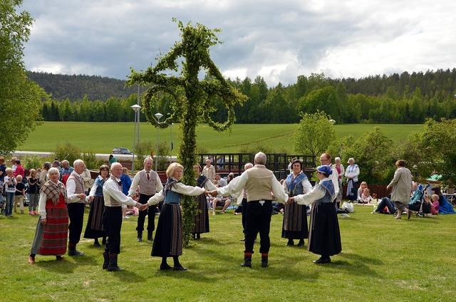 Midsummer maypole folk dancing.