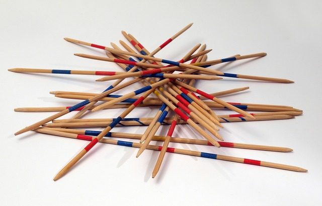 Mikado play wooden sticks.