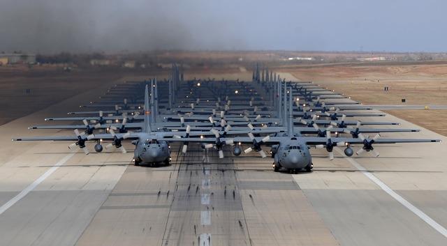 Military aircraft runway training.