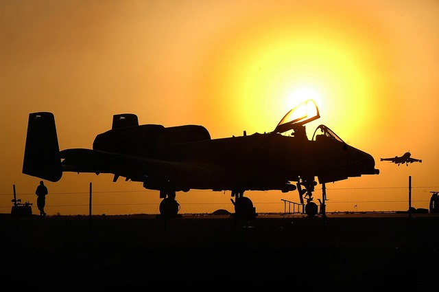 Military aircraft silhouette sunset jet, travel vacation.